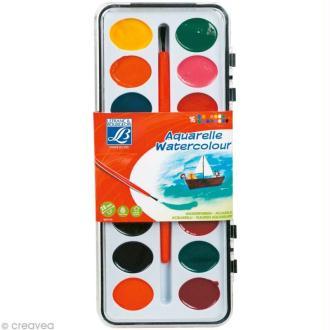 Boite Aquarelle Lefranc Bourgeois - 16 couleurs + 1 pinceau