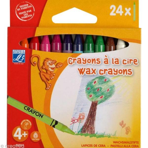 Crayon à la cire - Assortiment 24 couleurs 8 mm - Photo n°1
