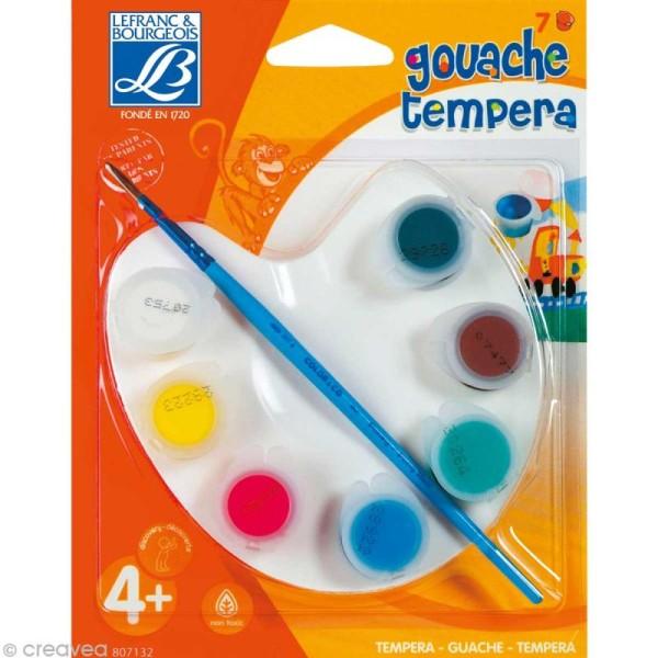 Kit de peinture Lefranc Bourgeois - 7 gouaches + 1 palette + 1 pinceau - Photo n°1