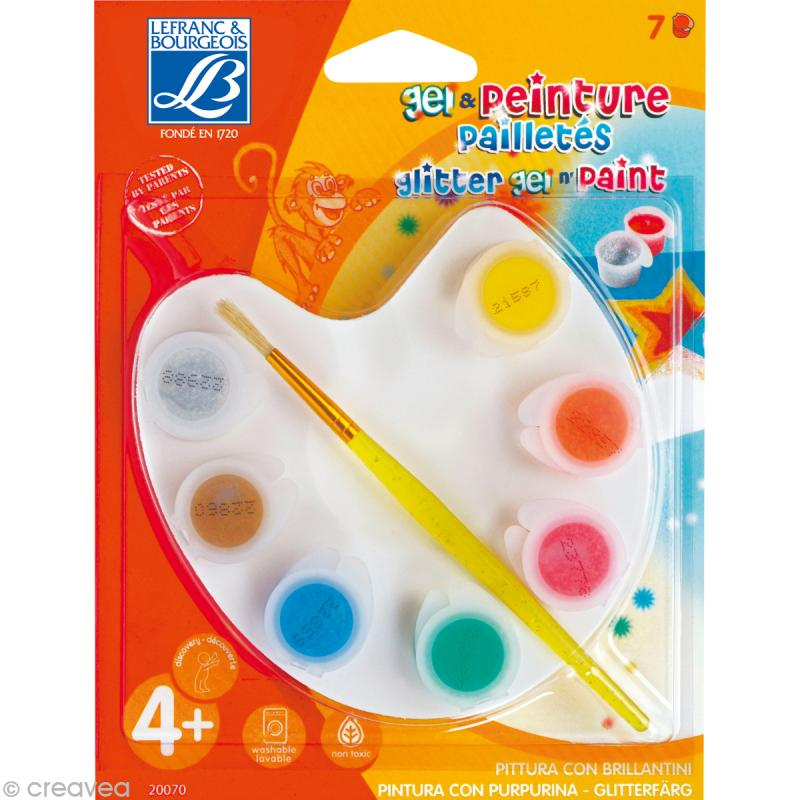 Kit de peinture paillet e lefranc bourgeois 7 gouaches 1 palette 1 pinceau gouache - Peinture pailletee avis ...