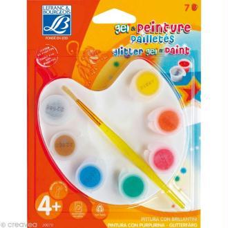 Kit de peinture pailletée Lefranc Bourgeois - 7 gouaches + 1 palette + 1 pinceau