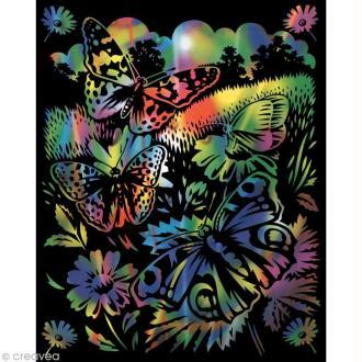 Carte à gratter Reeves Arc en ciel Papillons - 31,5 x 21 cm