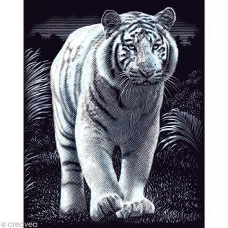 Carte à gratter Reeves Argentée Tigre - 31,5 x 21 cm