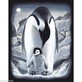 Carte à gratter Reeves Argentée Pingouins - 31,5 x 21 cm
