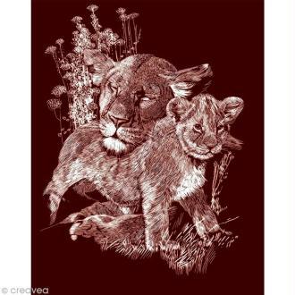 Carte à gratter Reeves Dorée Lionceau - 20 x 25 cm