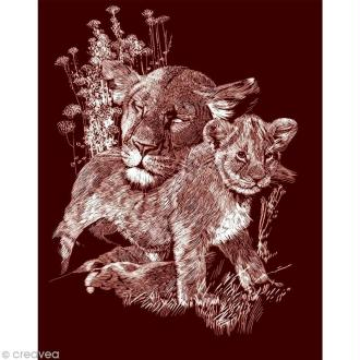 Carte à gratter Reeves Dorée Lionceau - 31,5 x 21 cm