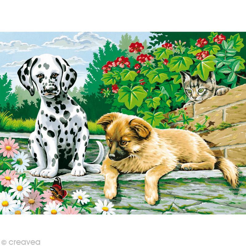 peinture au num ro reeves chiens et chat peinture au num ro creavea. Black Bedroom Furniture Sets. Home Design Ideas