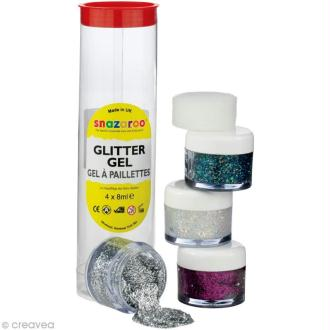 Maquillage Gel pailleté Assortiment 4 x 8 ml - Argent, Diamant, Multicolore, Violet
