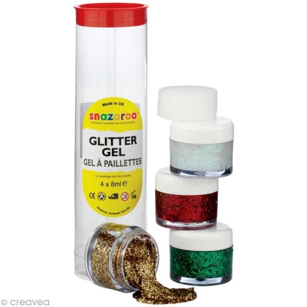 Maquillage Gel pailleté Assortiment 4 x 8 ml - Or, Diamant, Vert, Rouge - Photo n°1