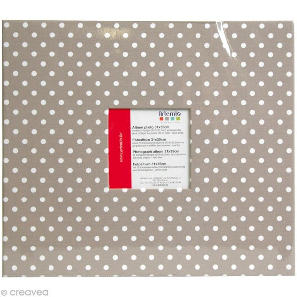 Album photo Scrapbooking Taupe à pois avec fenêtre - 31 x 35 cm - 10 pochettes transparentes - Photo n°1