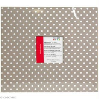 Album photo Scrapbooking Taupe à pois avec fenêtre - 31 x 35 cm - 10 pochettes transparentes