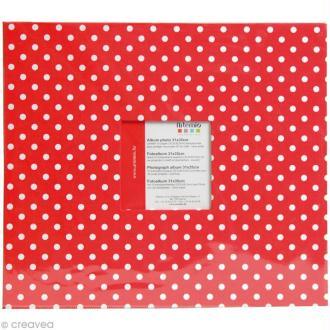 Album photo Scrapbooking Rouge à pois avec fenêtre - 31 x 35 cm - 10 pochettes transparentes