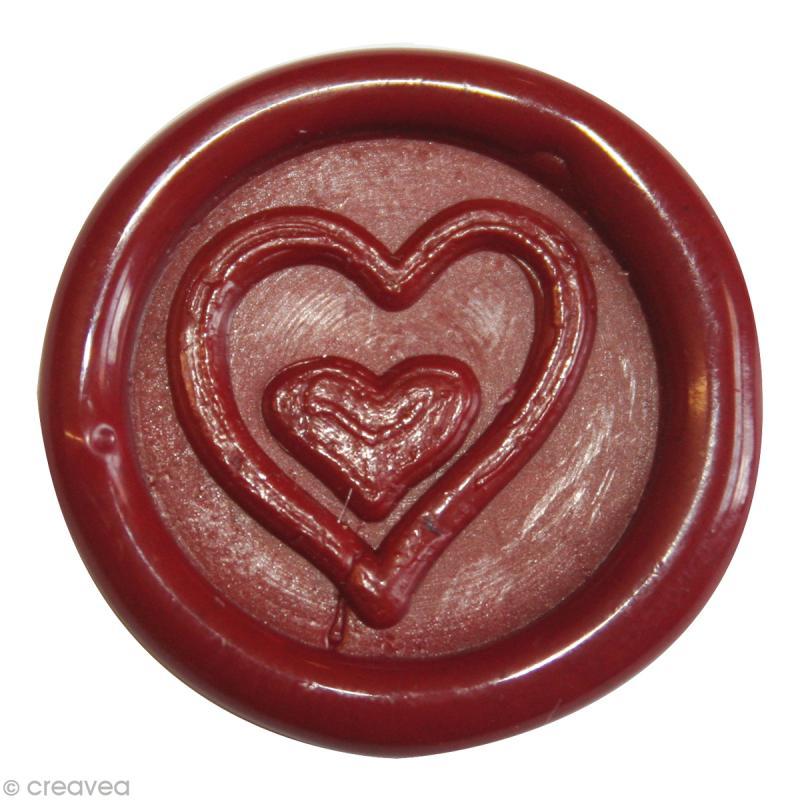 Cachet de cire à coller Rouge Coeur x 10 - Photo n°1