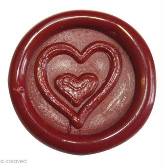 Cachet de cire à coller Rouge Coeur x 10