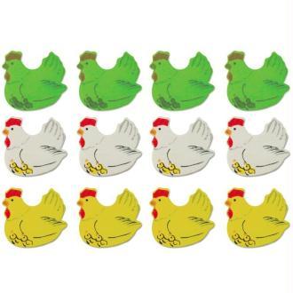 Lot 12 poules en bois peint