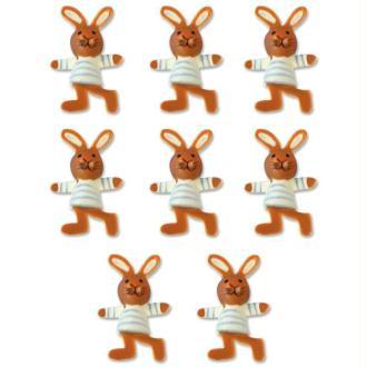 Lot 8 lapins en bois peint