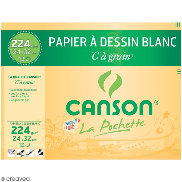 CANSON Papier à dessin C à grain 320 x 240 mm 224 g/m2 - Photo n°1