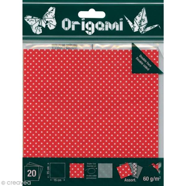 Papier Origami Japonais - Assortiment 20 feuilles - Pois - 15 x 15 cm - Photo n°1