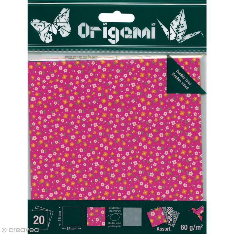 papier origami japonais assortiment 20 feuilles fleurs. Black Bedroom Furniture Sets. Home Design Ideas