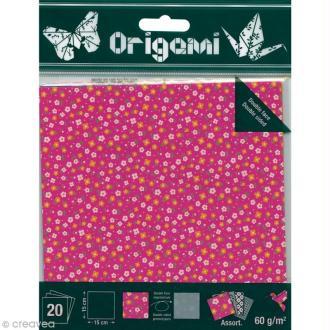 Papier Origami Japonais - Assortiment 20 feuilles - Fleurs - 15 x 15 cm