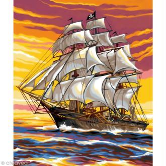 Peinture au numéro - Le Bateau Pirate - 22,5 x 30,4 cm