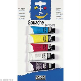 Gouache Pebeo Tempera Assortiment - 5 tubes 10 ml