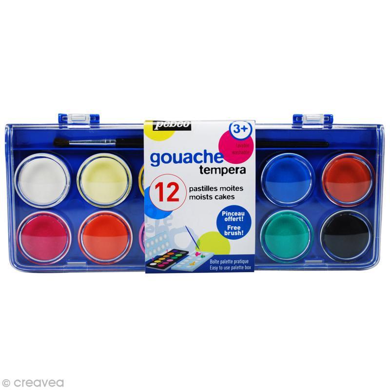 Gouache Pebeo Tempera - 12 pastilles de peintures avec pinceau - Photo n°1