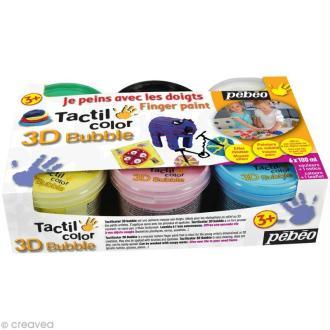 Kit de peinture aux doigts Tactil Color - 3d Bubble Classique - 6 x 100 ml