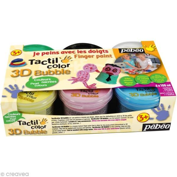 Kit de peinture aux doigts Tactil Color - 3d Bubble Nacrées - 6 x 100 ml - Photo n°1