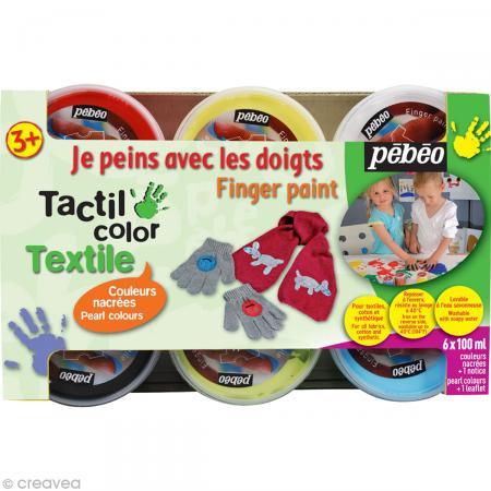 Kit de Peinture au doigt bébé Textile Pebeo - Couleurs nacrées - Photo n°1