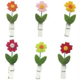 Pinces à linge 4,7 cm moyenne fleur x6