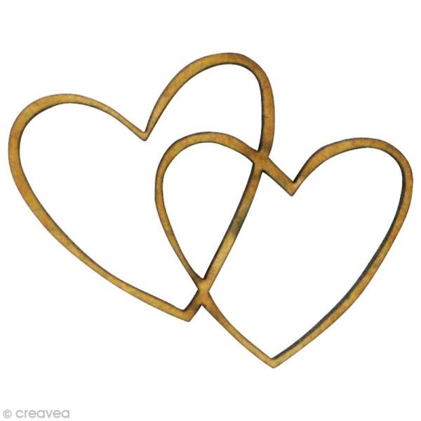 Forme en bois Amour - 2 coeurs entrelacés - MDF 4 x 3 cm - Photo n°1