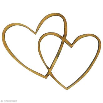 Forme en bois Amour - 2 coeurs entrelacés - MDF 4 x 3 cm