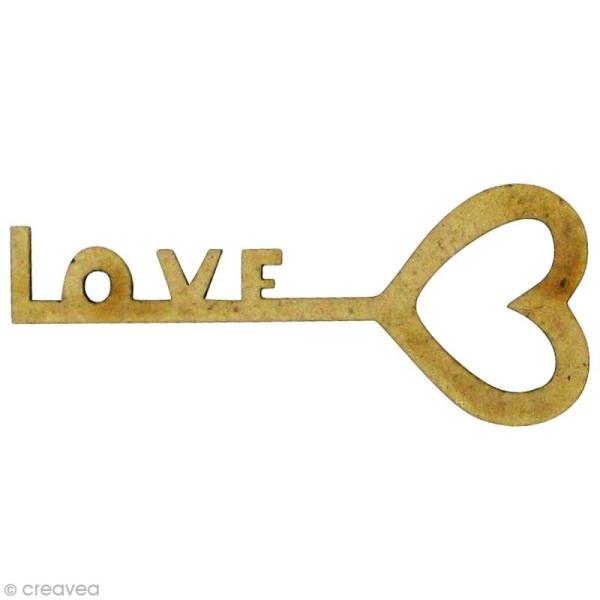 Forme en bois Amour - Clé love - MDF 4,2 x 1,7 cm - Photo n°1