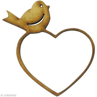 Forme en bois Amour - Oiseau sur coeur - MDF 4,5 x 4,5 cm