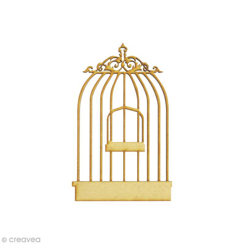Forme en bois oiseau cage oiseau 1 petit mdf 3 5 x 5 7 cm embellissement bois creavea - Dessin oiseau en cage ...