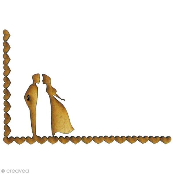 Forme en bois Amour - Angle coeur marié - MDF 5 x 3,9 cm - Photo n°1