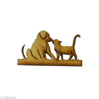 Forme en bois Animal - Chiot et chaton - MDF 4,7 x 2,3 cm