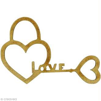 Forme en bois Amour - Clé love cadenas - MDF 5,7 x 3,9 cm