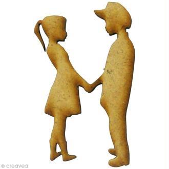 Forme en bois Amour - Jeunes amoureux - MDF 3 x 5 cm