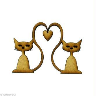 Forme en bois Amour - 2 chats coeurs - MDF 5,1 x 4,1 cm