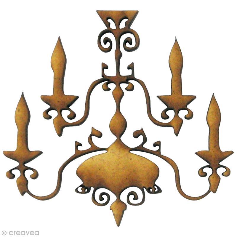 Forme en bois divers lustre 4 ampoules mdf 4 8 x 4 5 cm embellissement - Lustre forme ampoule ...