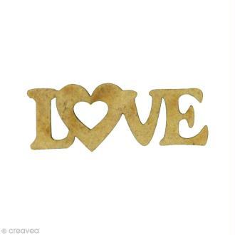 Forme en bois Amour - Love coeur Mini - MDF 3,8 x 1,3 cm