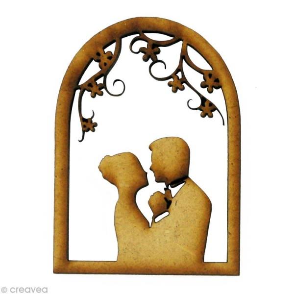 Forme en bois Amour - Mariés à la fenêtre - MDF 4,2 x 5,8 cm - Photo n°1