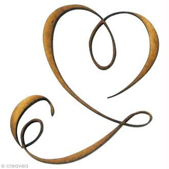 Forme en bois Amour - Coeur ruban - MDF 5,2 x 3,8 cm