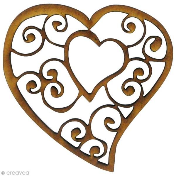 Forme en bois Amour - Coeur dans coeur - MDF 4,6 x 5 cm - Photo n°1