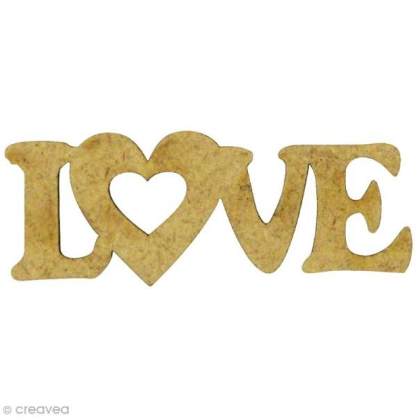 Forme en bois Amour - Love Coeur - MDF 4,8 x 1,7 cm - Photo n°1