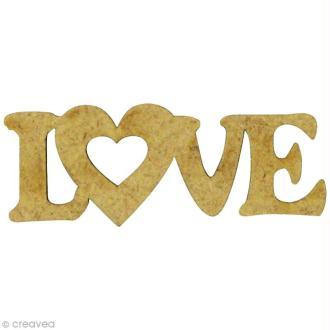 Forme en bois Amour - Love Coeur - MDF 4,8 x 1,7 cm
