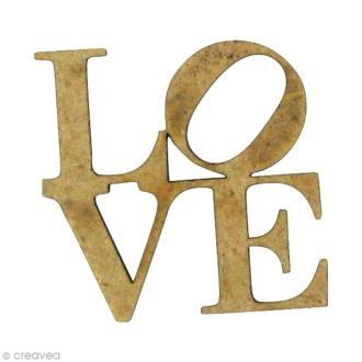 Forme en bois Amour - Love carré Mini - MDF 2,5 x 2,5 cm
