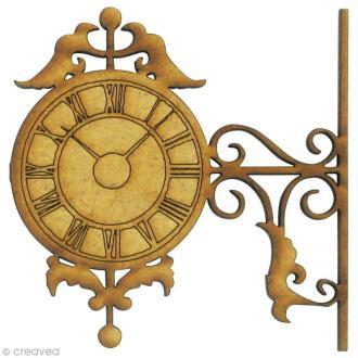 Forme en bois Divers - Horloge gravée - MDF 5,7 x 5,7 cm
